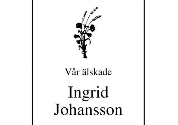 Ingrid Johansson har avlidit
